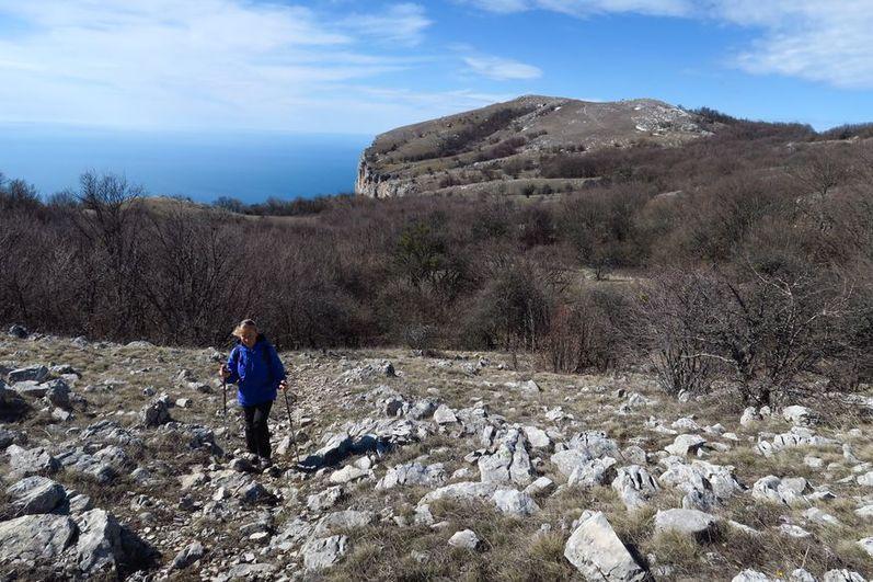 Подъем на яйлу с перевала Миэссис-богаз. На заднем плане гора Спирады (1029)